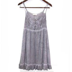 Black Swan boho embroidered distressed swing dress